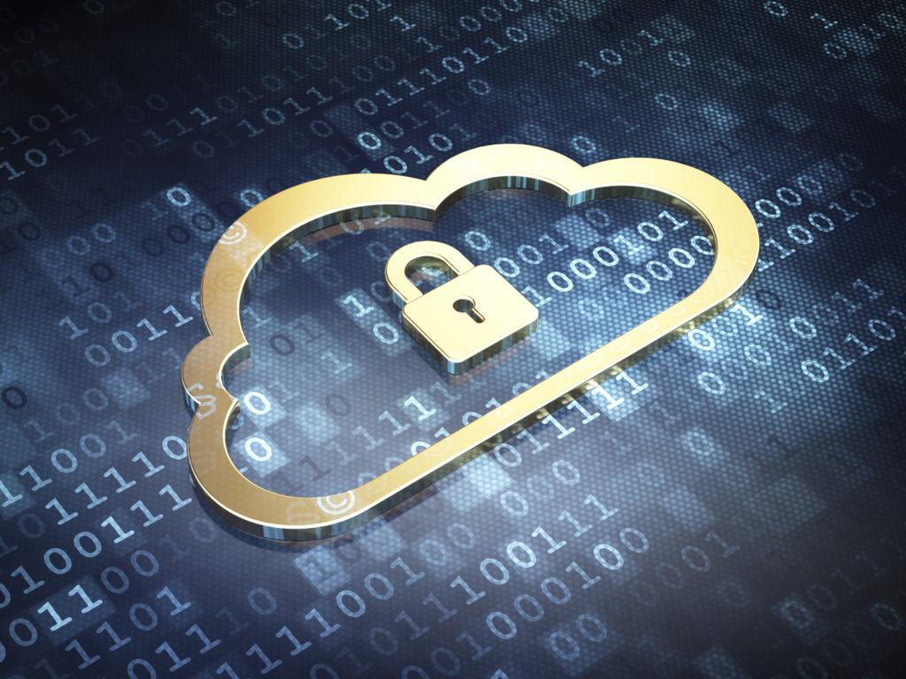 Cloud computing concept: Golden Cloud With Padlock on digital background, 3d render